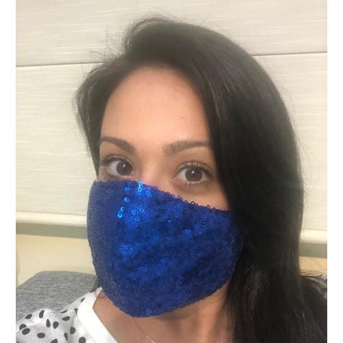 Máscara Azul Royal de paetê
